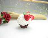 Mini Chocolate Strawberry Cupcake Necklace - Food Jewelry