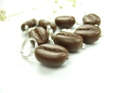 Coffee Bean Stitch Markers -Set of 10- knit knitting marker polymer clay miniature food charms