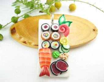 Sushi Necklace, sushi jewelry, food jewelry, food necklace, Japanese, miniature food, polymer clay, unique necklace, friend gift, maki rolls