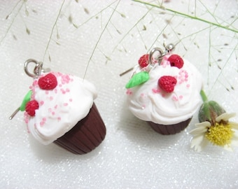 Raspberry Chocolate Cream Cupcake Earrings - food jewelry, food earrings