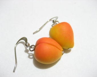 Peaches Earrings, peach earrings, fruit earrings,Food Jewelry, fruit jewelry, food earrings, peach earrings, yellow, orange, dangle earrings