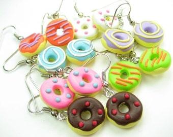 Mini Fun Donut Earrings (Choose 3 pairs), donut jewelry, food earrings, food jewelry, best friend gift, doughnut, cute, kawaii, foodie gift