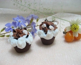 Chocolate Cupcake Earrings - food jewelry, food earrings, cupcake jewelry, miniature food, charm gift, polymer clay, chocolate earrings