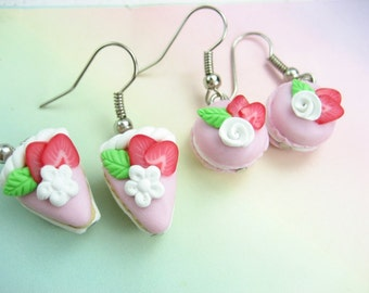 French Macaron Earrings and cake earrings 2 pairs strawberry earrings, Food Jewelry, food earrings, best friend gift, charms, womens gift