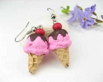 Cherry Ice Cream Earrings pink food jewelry, food earrings, ice cream gift, summer earrings, miniature food charm, polymer clay, cute kawaii