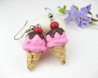 Cherry Choco Ice Cream Earrings - food jewelry