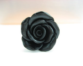 Black Rose Ring, flower ring, rose jewelry, gift for her, rose gift, friend gift, flower jewelry, floral