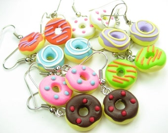 Donut Earrings Choose 3, pink, blue, purple, orange, green, chocolate donut jewelry, food earrings, food jewelry, cute clay, food gift bulk