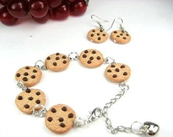 Chocolate Chip Cookies Bracelet food jewelry, cookies set jewelry, food bracelet, gift for her, food gift, polymer clay, cute food earrings