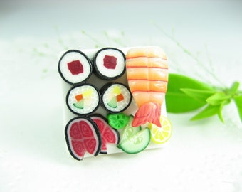Sushi Ring, sushi jewelry, food jewelry, food ring, polymer clay, sushi gift, Japanese, unique gift, unique ring, maki, ebi, miniature food