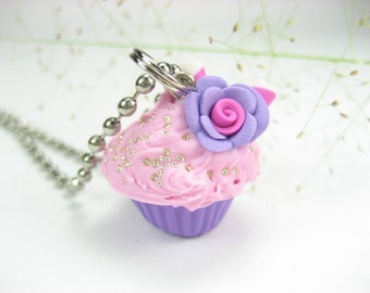 Purple and Pink Rose Cupcake Necklace - Food jewelry , food necklace, cupcake jewelry, gift for her, friend gifts, food gifts, rose necklace