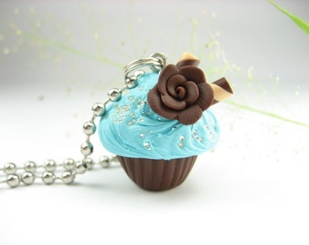 Cupcake Necklace Blue and Chocolate Rose - Food Jewelry food gifts for foodies pastry chef gift miniature food charm necklace cute kawaii