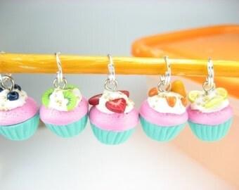 Fruit Cupcake Stitch Markers (Set of 5)
