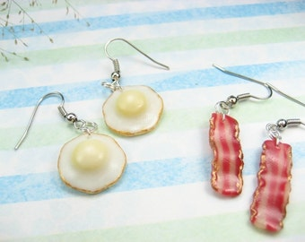 Bacon and Egg Earrings, Food Jewelry food earrings polymer clay, best friend gift, food gift, bacon gift, bacon earrings, cute, womens gift