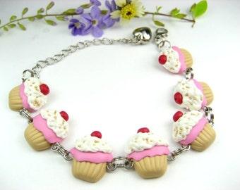 Cute Pink Cupcake Bracelet - Food jewelry, food bracelet, cupcake bracelet, cupcake jewelry