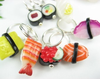 Sushi Stitch Markers (Set of 8) food stitch marker polymer clay charm knitting stitch markers sushi collectible, knitting, gift