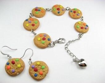 Rainbow Cookie Bracelet, food bracelet, food jewelry, gift for her, set jewelry, polymer clay, food earrings, cookie earrings, friend gift