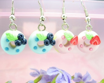 Strawberry and Blue Berry Donuts Earrings (2pairs) Food Jewelry, food earrings, gift for her, best friend gift, donut jewelry, donut charms