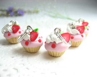 Mini Strawberry Cupcake Stitch marker - Set of 5 - polymer clay knit knitting charms