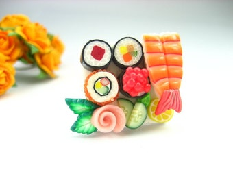 Sushi Ring, sushi jewelry, food jewelry, polymer clay, miniature food ring, unique gift, unique ring, sushi womens gift for her, Japanese
