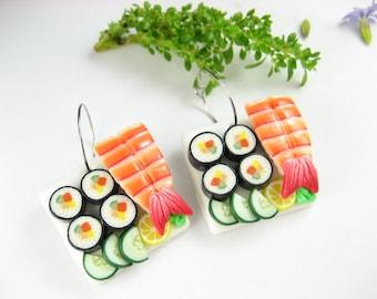 Sushi Earrings Futo Maki and Ebi Food Jewelry, food earrings, sushi jewelry, Japanese, miniature food kawaii, polymer clay, foodie gift