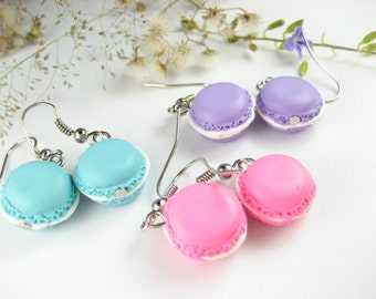 Cute French Macaron Earrings (3 pairs) Food Jewelry