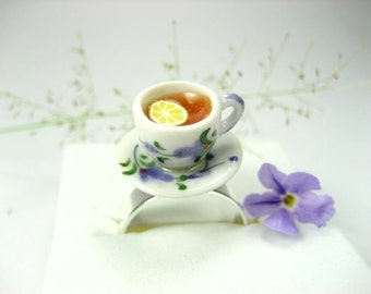 Dark Tea Teacup Ring, unique gifts food jewelry food ring time tea cup gift for her tea party miniature food polymer clay cute whimsical