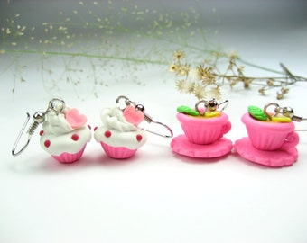 Cute Pink Teacup and Cupcake Earrings (2pairs), food earrings jewelry, cupcake earrings, tea cup teacup earrings, foodie gift, polymer clay
