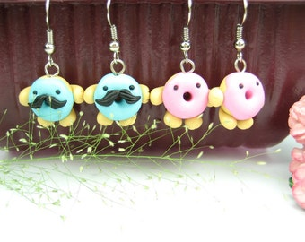 Cute funny Donut Earrings (2 pairs) - food jewelry,food earrings, donut jewelry, mustache, best friend gift, polymer clay, foodie gift