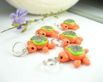 Orange Turtle Stitch Marker (Set of 5)
