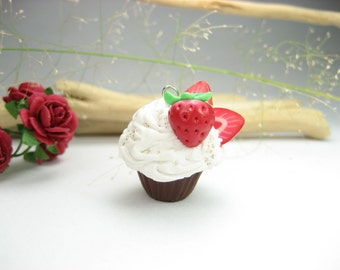 Mini Chocolate Strawberry Cupcake Necklace - Food Jewelry