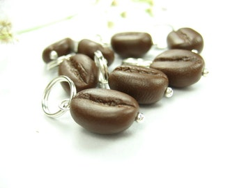 Coffee Stitch Markers Set of 10 knitting accessories polymer clay miniature food charms coffee charm coffee lover gift brown knitters gift