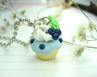 Blueberry Cupcake Necklace - Food Jewelry foodie gifts for foodies pastry chef gift miniature food charm necklace