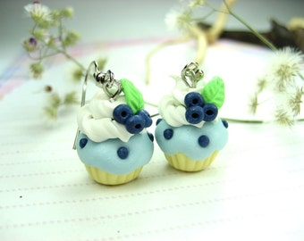 Blueberry Cupcake Earrings - food jewelry, blueberry earrings, dangle earrings, food earrings miniature food polyme clay cupcake earrings