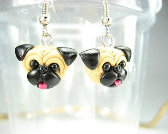 Pug Dangle Earrings - dog jewelry