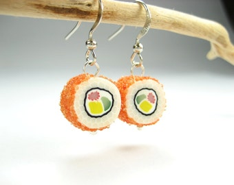 Sushi Earrings, California maki earrings, sushi jewelry, food earrings, food jewelry, polymer clay, Japanese, sushi costume, unique earrings