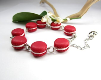 Red French Macaron Bracelet Food Jewelry, food bracelet, macaron jewelry, red unique, Paris polymer clay womens gift for her red velvet