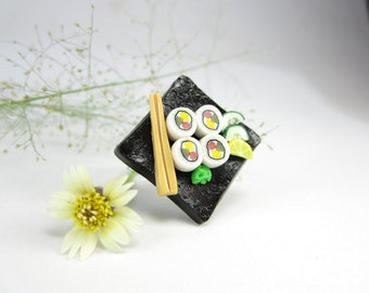 Sushi Ring Black plate California Maki, sushi jewelry womens gifts oriental Japanese miniature food polymer clay sushi costume unique gifts