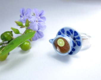 Blue and White Teacup Ring - polymer clay food jewelry , food ring
