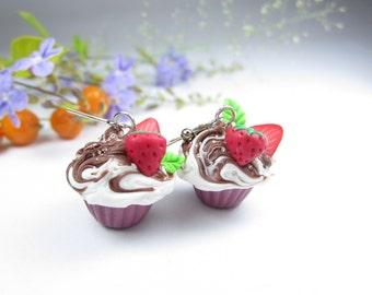 Chocolate Strawberry Cupcake Earrings - food jewelry, food earrings, strawberry earrings, berries, cupcake jewelry, polymer clay, chocolate