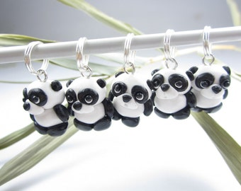 Cute Panda Stitch Markers, panda charms, panda gifts, knitting accessories, knit, gift for knitters. black and white animal polymer clay