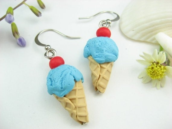 Bubble Gum Blue Ice Cream Earrings