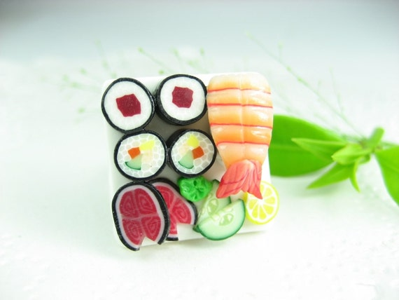 Sushi Ring - polymer clay food jewelry , food ring