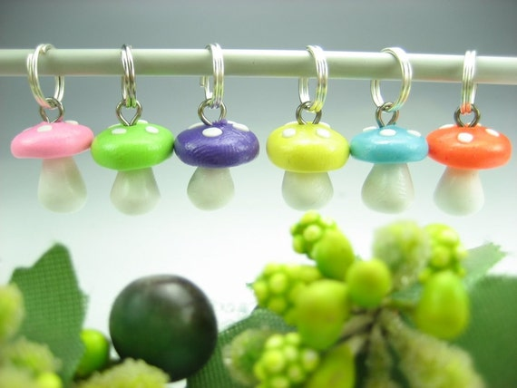 Mushroom Stitch Markers Set of 6, whimsical knitting accessories polymer clay miniature toadstool gift for knitters unique gifts cute charms