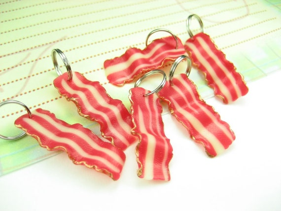 Bacon Strips Stitch Markers (set of 6)