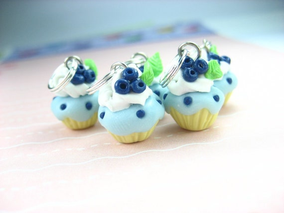 Blueberry Cupcake Stitch markers Set of 5 food stitch markers knitting knitters gifts accessories miniature food charms polymer clay foodie