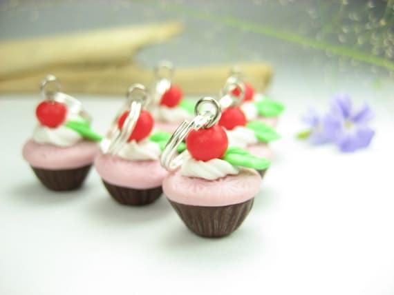 Mini Cherry Choco Cupcake Stitch Marker (Set of 6), knitting stitch markers, cupcake charms, cupcake stitch marker, miniature food charms