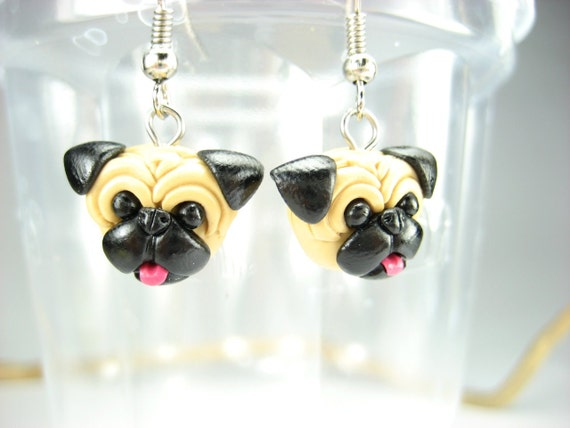 Pug Earrings - dog jewelry, dangle dog earrings, pug jewelry, pug life, pug gift, dog lover gifts, pugs, polymer clay miniature animal