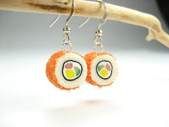 California Maki Sushi Earrings - food jewelry earrings polymer clay