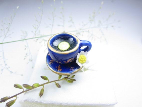 Dark Blue Teacup Ring